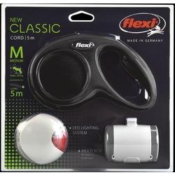 СКИДКА 30%! Набор: New Classic M, тросовый поводок 5 м для собак до 20 кг (черный)+ LED подсветка-фонарик+ бокс для лакомств/пакетиков