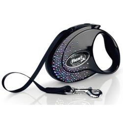 Flexi Glam Splash Mystic S ременной поводок-рулетка 3 м для собак до 12 кг, цвет черный с синими кристаллами