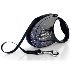 Flexi Glam Splash Mystic S ременной поводок-рулетка 3 м для собак до 12 кг, цвет черный с синими кристаллами Swarovski®