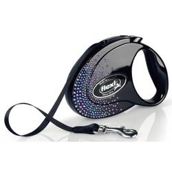 Flexi Glam Splash Mystic M ременной поводок-рулетка 5 м для собак до 25 кг, цвет черный с синими кристаллами Swarovski®