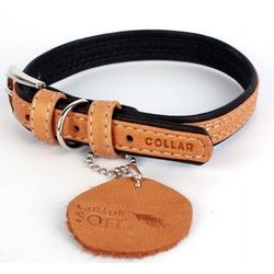 Collar ошейник из кожи КОЛЛАР СОФТ, коричневый верх, 27-36 см, ширина 15 мм
