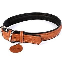 Collar ошейник двойной, прошитый из кожи КОЛЛАР СОФТ, коричневый верх, 57-71 см, ширина 35 мм