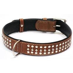 Collar ошейник двойной, прошитый из кожи КОЛЛАР СОФТ с металлическими украшениями, коричневый верх, 46-60 см, ширина 35 мм