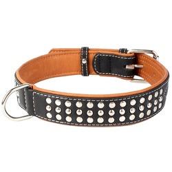 Collar ошейник двойной, прошитый из кожи КОЛЛАР СОФТ с металлическими украшениями, черный верх