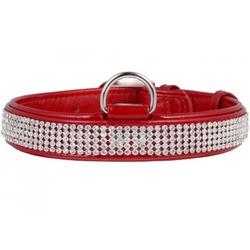 Collar ошейник из лакированной кожи «Полотно стразы» КОЛЛАР БРИЛЛИАНС , цвет красный
