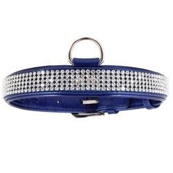 Collar ошейник из лакированной кожи «Полотно стразы» КОЛЛАР БРИЛЛИАНС , цвет синий