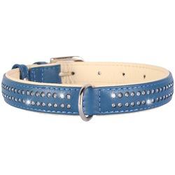 Collar ошейник из кожи со стразами КОЛЛАР БРИЛЛИАНС, цвет синий