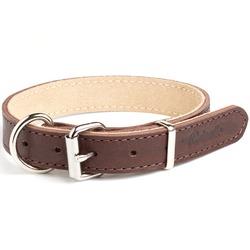 """Gripalle ошейник для собак """"Рокс"""", натуральная кожа, 2 слоя, цвет коричневый"""