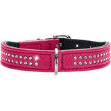 Hunter ошейник Diamond Petit, натуральная кожа, кристаллы, цвет розовый