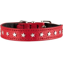 Hunter ошейник Capri Mini Stars, натуральная кожа, красный со звездами, 23-27 см, ширина - 1,6 см
