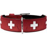 """Hunter ошейник Swiss, цвет красный с отделкой """"швейцарский флаг"""""""