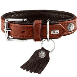 Hunter ошейник из кожи бизона Cody, цвет коньячный/темно-коричневый
