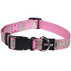 Rogz светоотражающий ошейник для щенков, цвет розовый