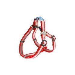 Каскад шлейка для собак нейлоновая быстросъемная со светоотражающей полосой, цвет красный