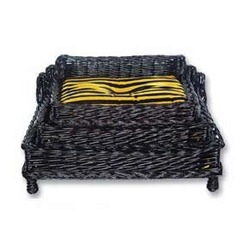 Каскад Диван плетеный из лозы ротанга, черный