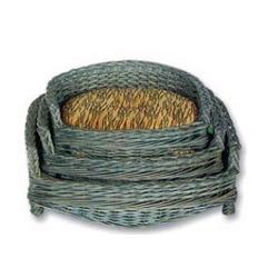 Каскад Диван плетеный из лозы ротанга, серо-зеленый