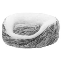 """Yami-Yami Овальный меховой лежак с подушкой """"Снежная сказка"""" с длинным ворсом"""