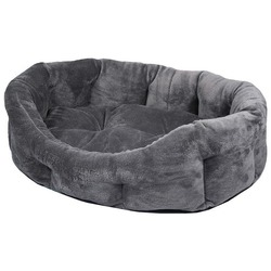 Darell Лежак овальный меховой с бортиками и съемной подушкой, цвет серый Darell Puma