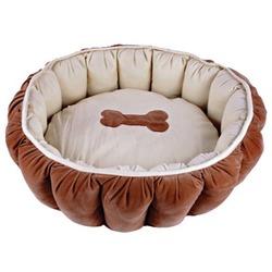 Dezzie Лежак круглый бежево-коричневый с костью