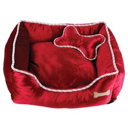 Dezzie квадратный лежак красный с косточкой, велюр.