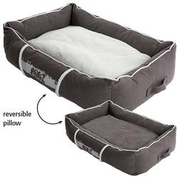 Rogz Lounge Podz Лежак с бортиком и двусторонней подушкой, серый/кремовый