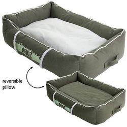 Rogz Lounge Podz Лежак с бортиком и двусторонней подушкой, оливковый/кремовый