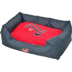 """Rogz Spice Podz Лежак с бортиком и двусторонней подушкой """"Красные косточки"""", серый с красным"""