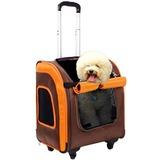 Ibiyaya многофункциональная тележка-трансформер (сумка-тележка-рюкзак) Liso для кошек и собак (Parallel Transport Pet Carrier), коричневая с оранжевым (Ибияйя)