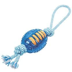 ГрызликАМ Мяч регби с веревкой Durable Rope Silent Размер 35 см, Цвет Голубой, арт.030