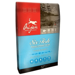 Orijen 6 Fish беззерновой гипоаллергенный сухой корм для собак с 6 видами рыбы, фруктами и овощами (80/20)