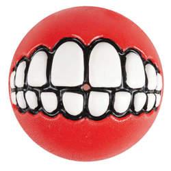 Rogz мяч с принтом зубы и отверстием для лакомств GRINZ, цвет красный