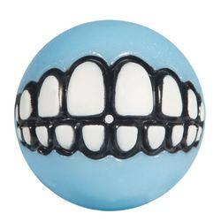 Rogz мяч для щенков с принтом зубы и отверстием для лакомств GRINZ, цвет голубой