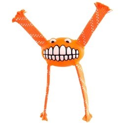 Rogz Fllossy Grinz резиновая игрушка с канатами, с пищалкой, цвет оранжевый