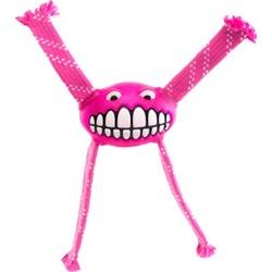 Rogz Fllossy Grinz резиновая игрушка с канатами, с пищалкой, цвет розовый