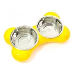 Hing двойная миска на подставке «Косточка», 2*350 мл, цвет желтый