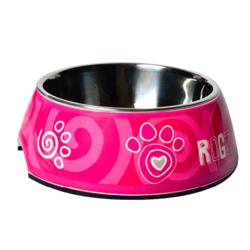 "Rogz миска 2в1 Bubble Bowlz ""Розовая лапка"""