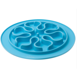 V.I.Pet Миска силиконовая рельефная (волны) для медленного поедания корма (ГОЛУБАЯ) 24см