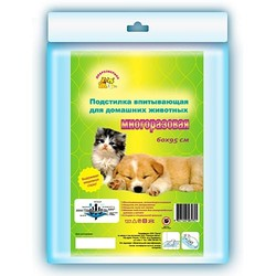 Доброзверики пеленка многоразовая впитывающая для домашних животных, 1 шт.