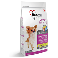 1st Choice для взрослых собак декоративных и мелких пород для здоровья кожи и шерсти, ягненок и рыба.