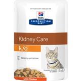 Hill`s K/D диетический влажный корм для кошек- лечение заболеваний почек, с курицей, мягкая упаковка, Prescription Diet k/d Feline with Chicken, 85 гр. х 12 шт.