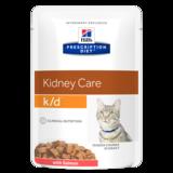 Hill`s K/D диетический влажный корм для кошек- лечение заболеваний почек, с лососем, мягкая упаковка, Prescription Diet k/d Feline with Salmon, 85 гр. х 12 шт.