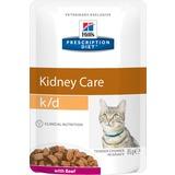 Hill`s K/D диетический влажный корм для кошек- лечение заболеваний почек, с говядиной, мягкая упаковка, Prescription Diet k/d Feline, 85 гр. х 12 шт.