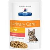 Hill`s C/D диетический влажный корм для кошек- профилактика и лечение МКБ, с лососем, мягкая упаковка, Prescription Diet c/d Feline Multicare Tender Chunks in Gravy, 85 гр. х 12 шт.