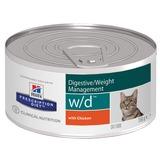 Hill`s W/D диетический влажный корм для кошек- лечение сахарного диабета, колитов, запоров, контроль веса, с курицей, Hill's Prescription Diet Feline w/d Minced with Chicken