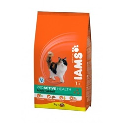Iams Adult Hairball Care сухой корм для взрослых кошек с курицей, профилактика образования комков шерсти в желудке.