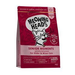 "Корм Meowing Heads для кошек старше 7 лет, с лососем и яйцом ""Мудрые года"", Senior Moments"