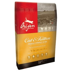 Orijen Cat&Kitten беззерновой корм для кошек с цыпленком, индейкой, рыбой, фруктами и овощами (85/15)
