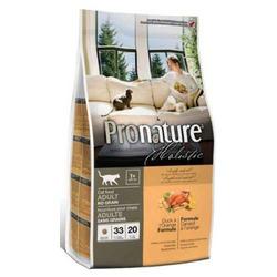 Pronature holistic беззерновой корм для взрослых кошек, утка с апельсином.