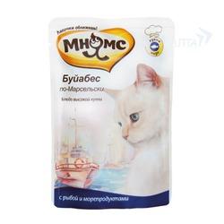 Мнямс паучи для кошек Буйабес по-Марсельски (рыба с морепродуктами), 85 гр.