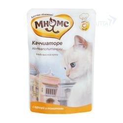 Мнямс паучи для кошек Каччиаторе по-Неаполитански (курица с томатами), 85 гр.